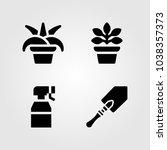 house plants vector icon set.... | Shutterstock .eps vector #1038357373