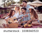 group of happy young people... | Shutterstock . vector #1038360523