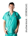 Asian doctor wearing a green scrubs, a white coat with stethoscope. - stock photo