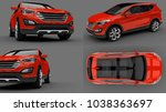 set compact city crossover red... | Shutterstock . vector #1038363697