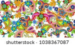 seamless pattern with paisley | Shutterstock .eps vector #1038367087