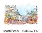borobudur or barabudur is a 9th ... | Shutterstock .eps vector #1038367147