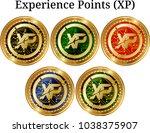 set of physical golden coin... | Shutterstock .eps vector #1038375907