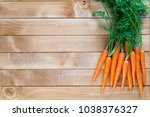 fresh carrot vegetable with... | Shutterstock . vector #1038376327