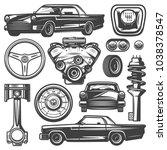 vintage car components... | Shutterstock .eps vector #1038378547