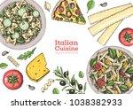 italian cuisine top view frame. ... | Shutterstock .eps vector #1038382933