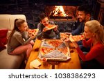 happy family eating pizza... | Shutterstock . vector #1038386293