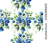 watercolor floral seamless... | Shutterstock . vector #1038388603
