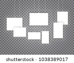 blank hanging photo frames or... | Shutterstock .eps vector #1038389017