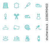 set of 16 sewing icons line... | Shutterstock .eps vector #1038390403