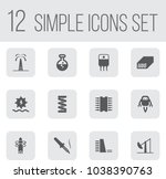 set of 12 industrial icons set. ... | Shutterstock .eps vector #1038390763