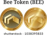 set of physical golden coin bee ...   Shutterstock .eps vector #1038395833