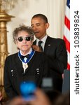 WASHINGTON - MAY 29: Singer Bob Dylan receives the Presidential Medal of Freedom at a ceremony at the White House May 29, 2012 in Washington, D.C. - stock photo