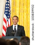 WASHINGTON - MAY 29: President Barack Obama speaks at the Presidential Medal of Freedom ceremony at the White House May 29, 2012 in Washington, D.C. - stock photo