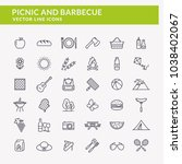 picnic and barbecue web icons.... | Shutterstock .eps vector #1038402067