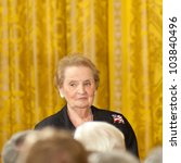 WASHINGTON - MAY 29: Former Secretary of State Madelieine Albright waits before receiving the Presidential Medal of Freedom by President Barack Obama at the White House May 29, 2012 in Washington, D.C. - stock photo