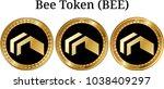 set of physical golden coin bee ...   Shutterstock .eps vector #1038409297