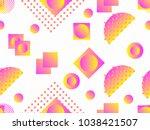 memphis seamless pattern.... | Shutterstock .eps vector #1038421507