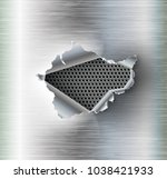 ragged hole torn in ripped... | Shutterstock .eps vector #1038421933