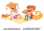 boy and girl with puppy eating...   Shutterstock .eps vector #1038442087