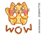 cute ginger cat excited with... | Shutterstock .eps vector #1038447733