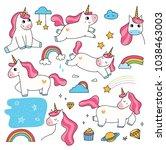set of cute cartoon unicorn...   Shutterstock .eps vector #1038463003