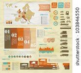 Detail old infographic vector illustration with map of Europe, car icons, infographics and Information Graphics. - stock vector