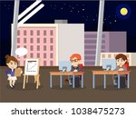 business people doing night... | Shutterstock .eps vector #1038475273