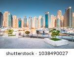 stunning dubai cityscape ... | Shutterstock . vector #1038490027
