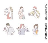 various poses to drink... | Shutterstock .eps vector #1038506347