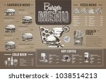 vintage  burger menu design on... | Shutterstock .eps vector #1038514213