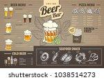 vintage beer menu design on... | Shutterstock .eps vector #1038514273