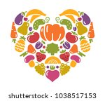 stylized images of fruits and... | Shutterstock .eps vector #1038517153