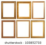 Set Of 6 Gold Frames. Isolated...