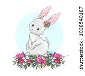 cute easter bunny. hand drawn... | Shutterstock .eps vector #1038540187