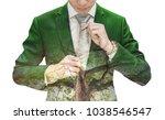 double exposure businessman in... | Shutterstock . vector #1038546547