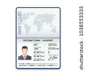 international male passport... | Shutterstock .eps vector #1038553333