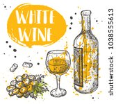white wine concept design.... | Shutterstock .eps vector #1038555613