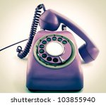 old retro phone - stock photo