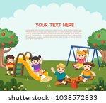 happy excited kids having fun...   Shutterstock .eps vector #1038572833