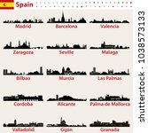 spain largest cities skylines... | Shutterstock .eps vector #1038573133