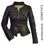 women leather jacket - stock photo