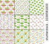 easter vector spring seamless... | Shutterstock .eps vector #1038581833