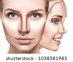 collage of woman's faces with... | Shutterstock . vector #1038581983