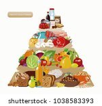 food pyramid. healthy food  ... | Shutterstock .eps vector #1038583393