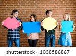 friends holding up copyspace... | Shutterstock . vector #1038586867