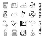 pharmaceutical icons. set of 16 ... | Shutterstock .eps vector #1038589093