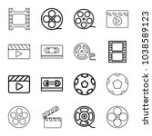 cinematography icons. set of 16 ... | Shutterstock .eps vector #1038589123