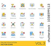 online education vector icons.... | Shutterstock .eps vector #1038599113