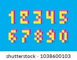 pixel retro video game numbers. ...   Shutterstock .eps vector #1038600103